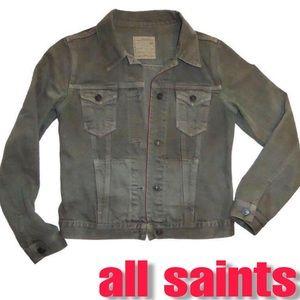 "All Saints ""Dun"" Army Green/Gray Denim Jacket"